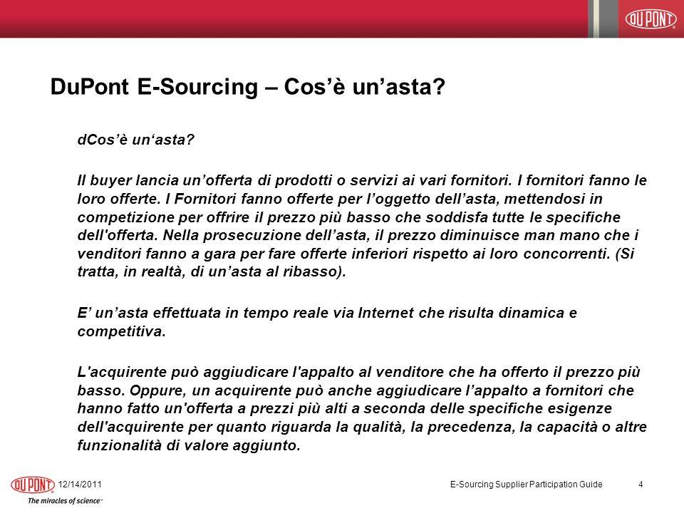 DuPont E-Sourcing – Cos'è un'asta