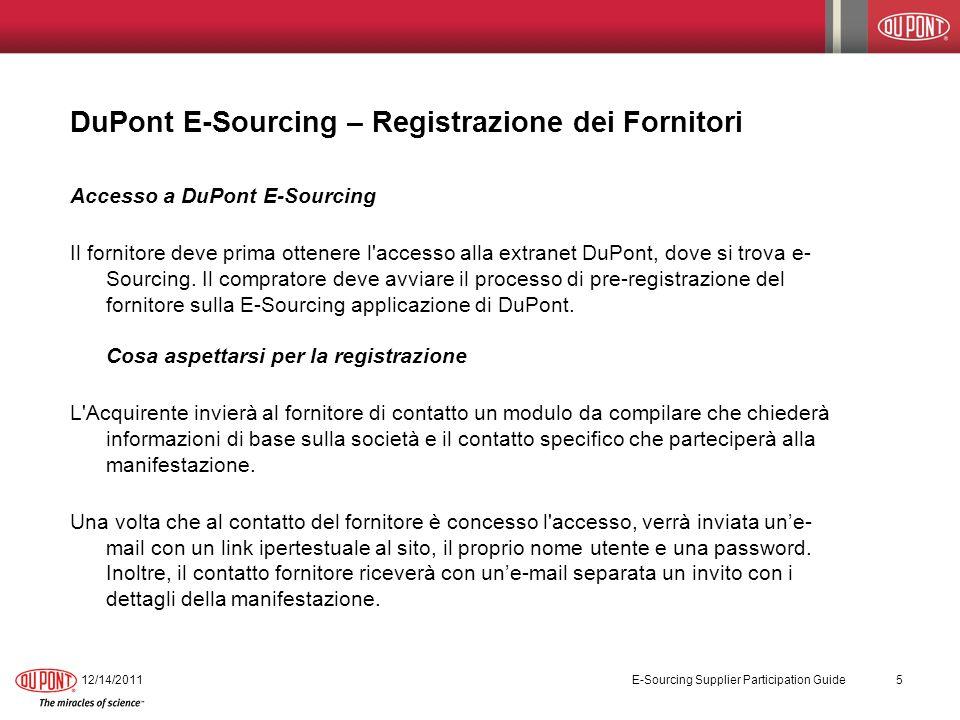 DuPont E-Sourcing – Registrazione dei Fornitori