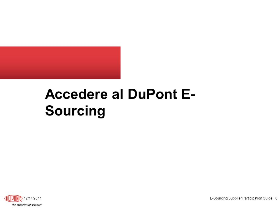 Accedere al DuPont E- Sourcing