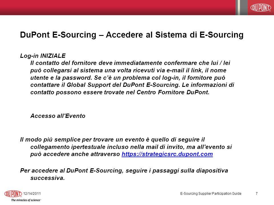 DuPont E-Sourcing – Accedere al Sistema di E-Sourcing