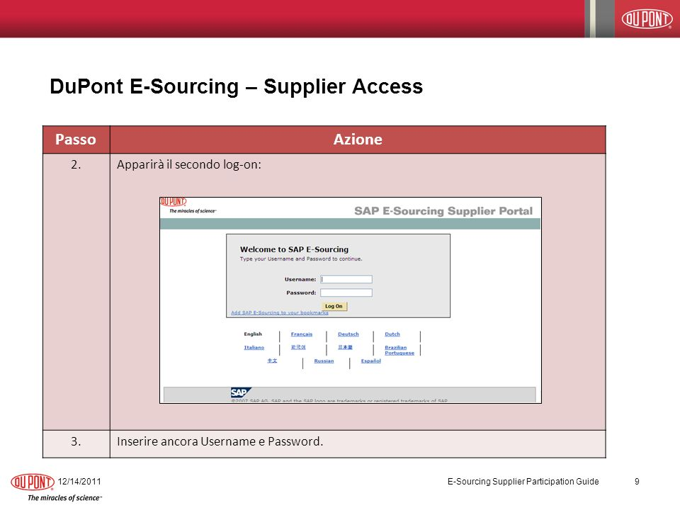 DuPont E-Sourcing – Supplier Access