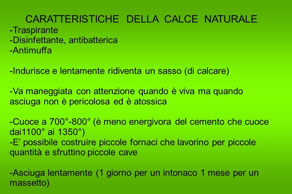 CARATTERISTICHE DELLA CALCE NATURALE