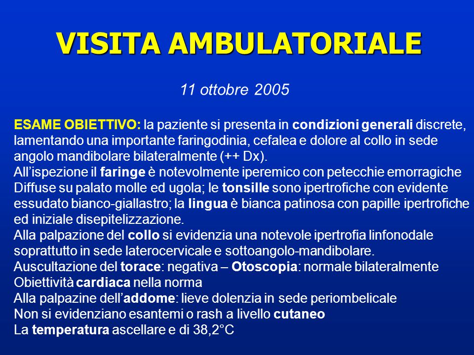 VISITA AMBULATORIALE 11 ottobre 2005