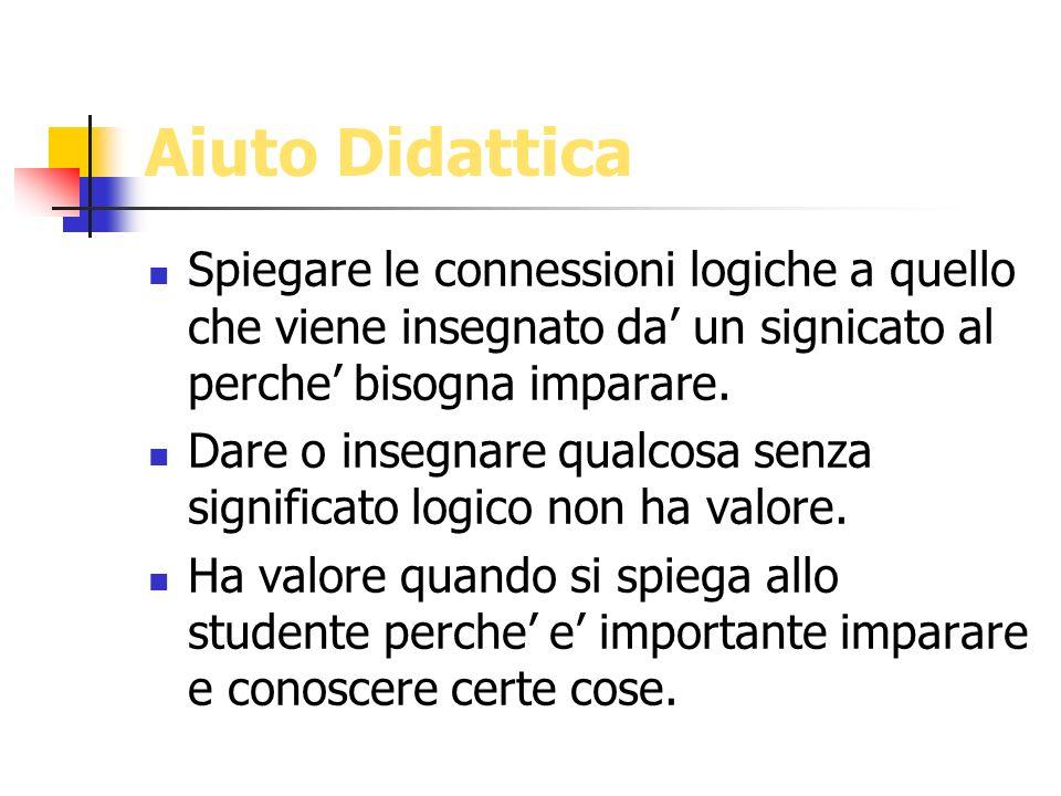 Aiuto Didattica Spiegare le connessioni logiche a quello che viene insegnato da' un signicato al perche' bisogna imparare.