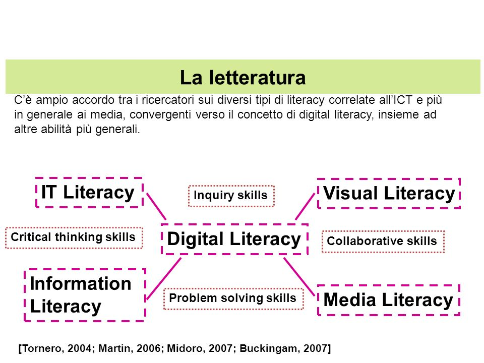 La letteratura IT Literacy Visual Literacy Digital Literacy