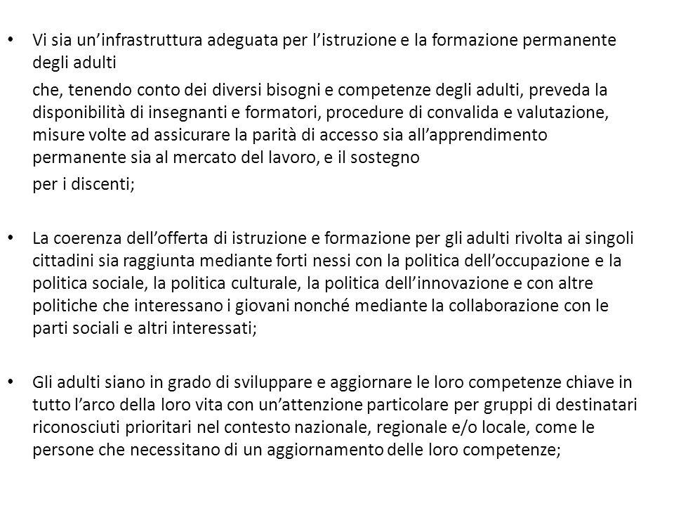 Vi sia un'infrastruttura adeguata per l'istruzione e la formazione permanente degli adulti