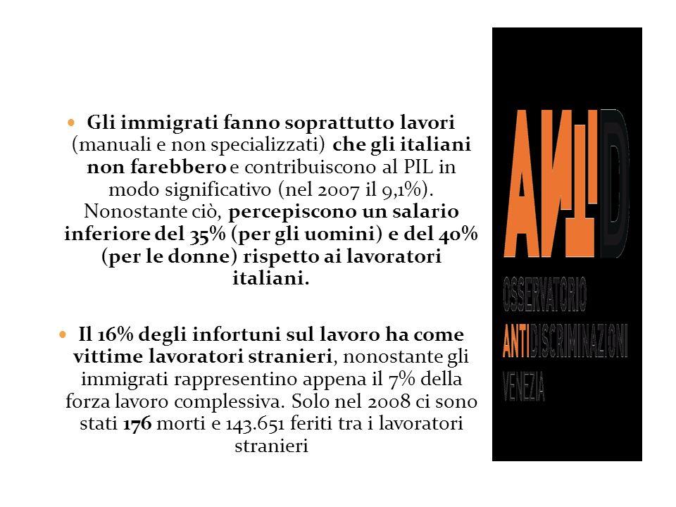 Gli immigrati fanno soprattutto lavori (manuali e non specializzati) che gli italiani non farebbero e contribuiscono al PIL in modo significativo (nel 2007 il 9,1%). Nonostante ciò, percepiscono un salario inferiore del 35% (per gli uomini) e del 40% (per le donne) rispetto ai lavoratori italiani.