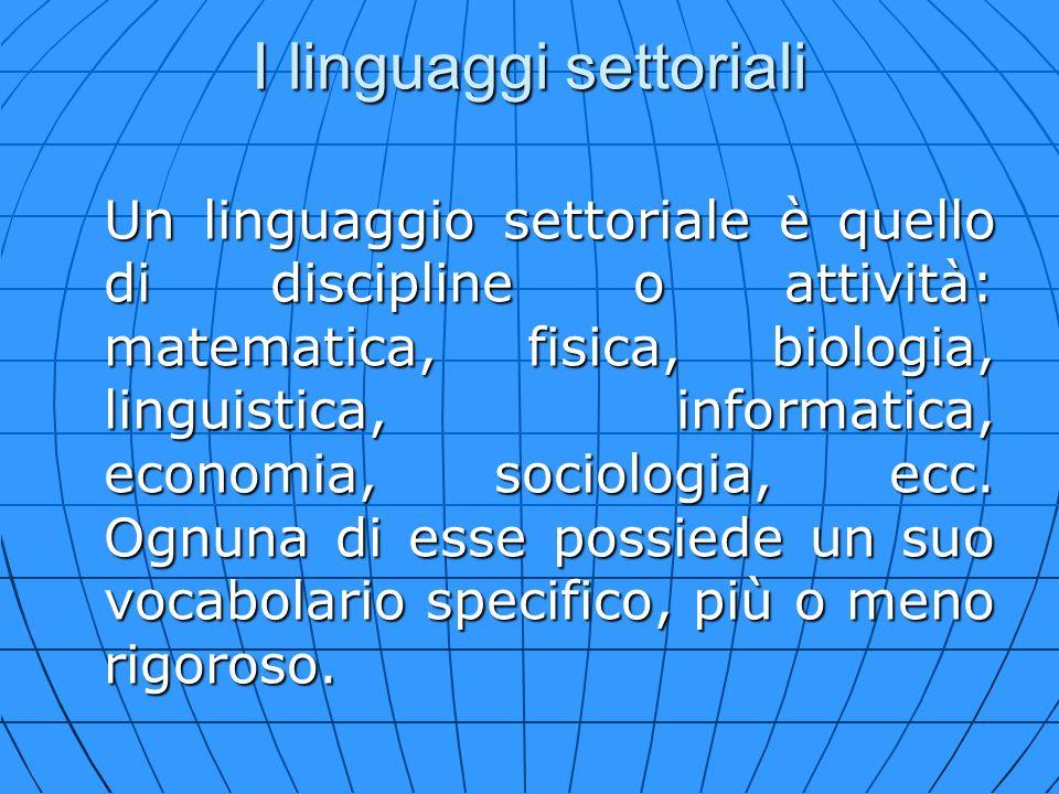I linguaggi settoriali