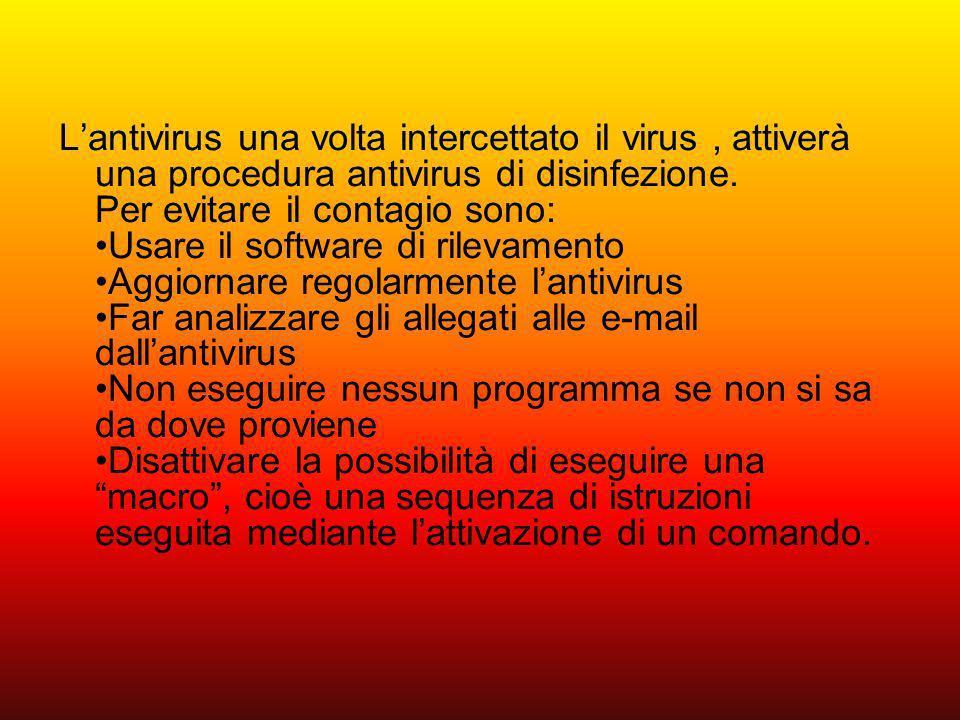 L'antivirus una volta intercettato il virus , attiverà una procedura antivirus di disinfezione.