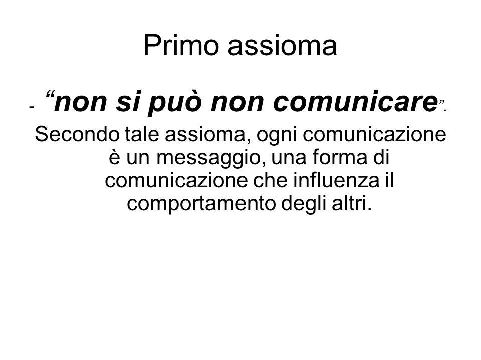 Primo assioma - non si può non comunicare .