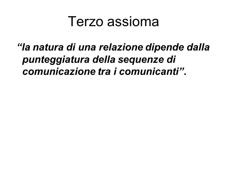 Terzo assioma la natura di una relazione dipende dalla punteggiatura della sequenze di comunicazione tra i comunicanti .