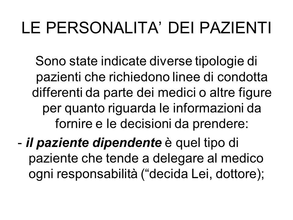 LE PERSONALITA' DEI PAZIENTI