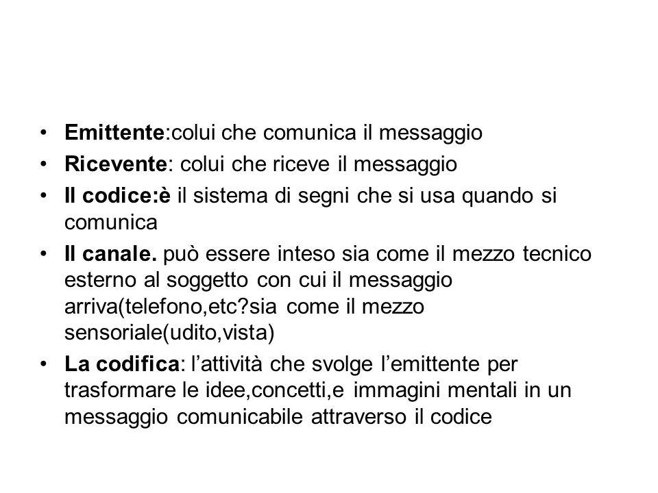 Emittente:colui che comunica il messaggio