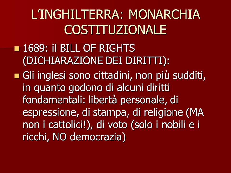 L'INGHILTERRA: MONARCHIA COSTITUZIONALE