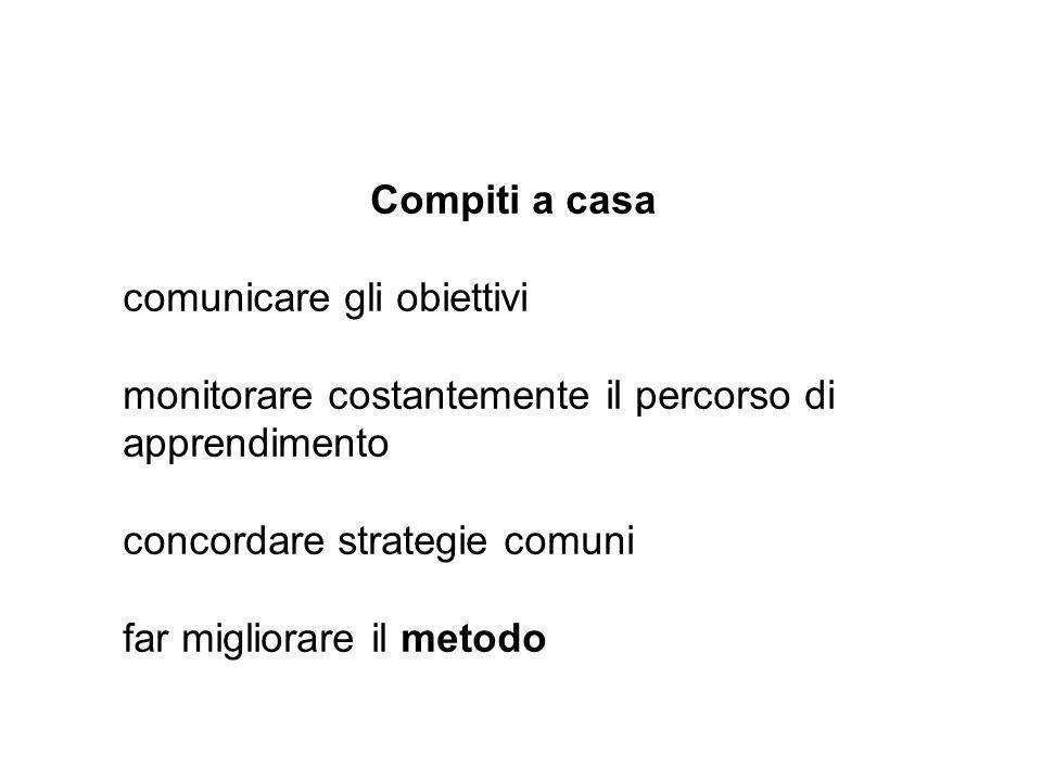 Compiti a casa comunicare gli obiettivi. monitorare costantemente il percorso di apprendimento. concordare strategie comuni.