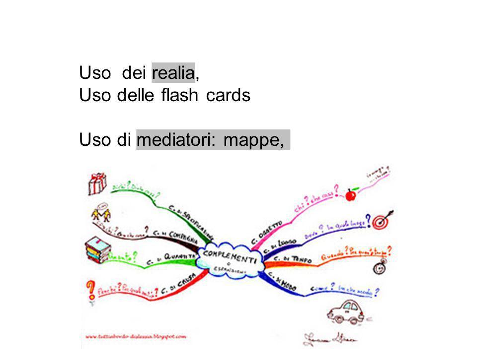 Uso dei realia, Uso delle flash cards Uso di mediatori: mappe,