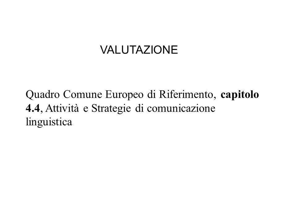 VALUTAZIONE Quadro Comune Europeo di Riferimento, capitolo 4.4, Attività e Strategie di comunicazione linguistica.