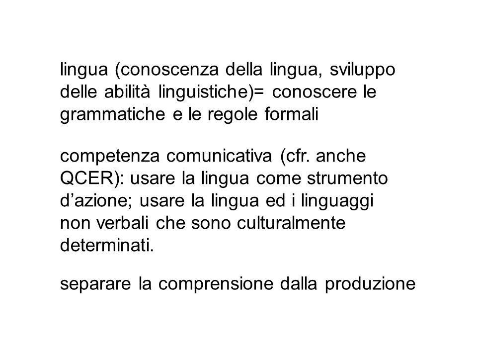 lingua (conoscenza della lingua, sviluppo delle abilità linguistiche)= conoscere le grammatiche e le regole formali