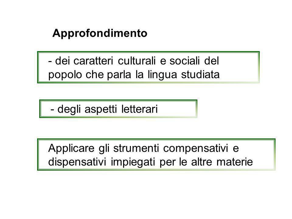 Approfondimento - dei caratteri culturali e sociali del popolo che parla la lingua studiata. - degli aspetti letterari.