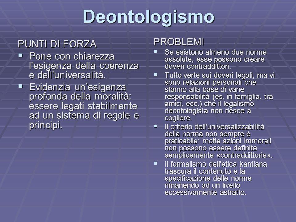Deontologismo PROBLEMI PUNTI DI FORZA