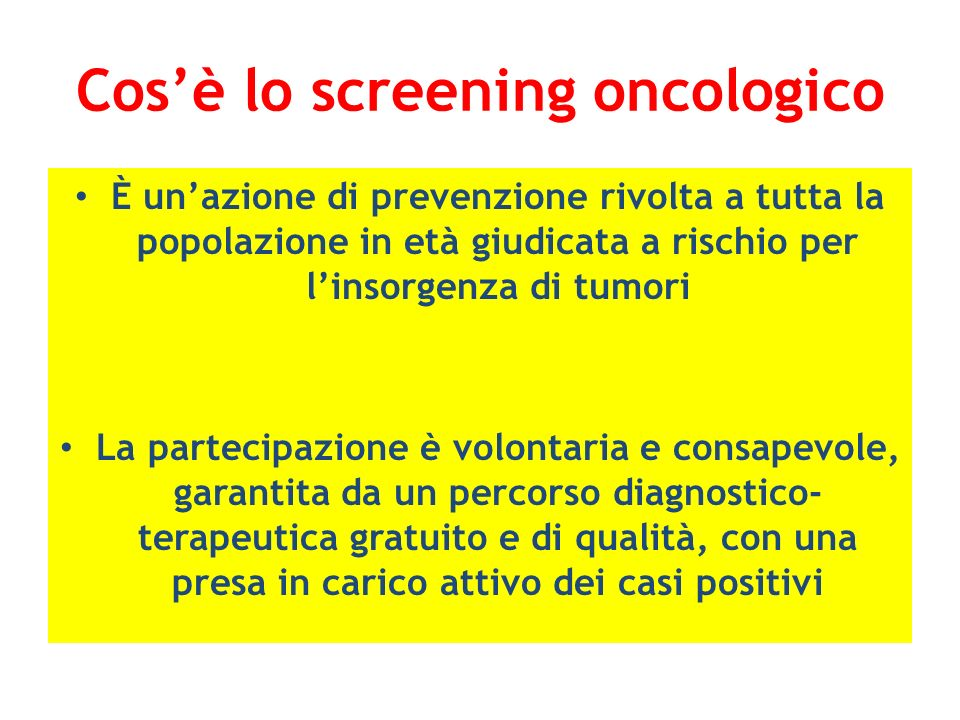 Cos'è lo screening oncologico
