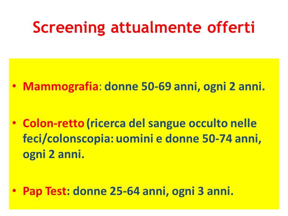Screening attualmente offerti