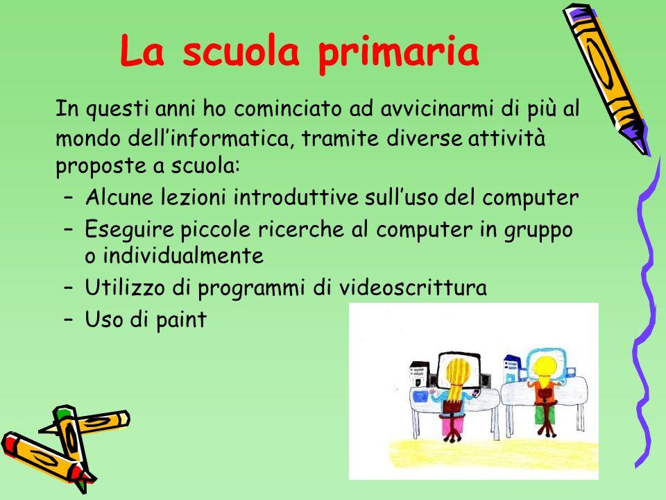 La scuola primaria In questi anni ho cominciato ad avvicinarmi di più al mondo dell'informatica, tramite diverse attività proposte a scuola: