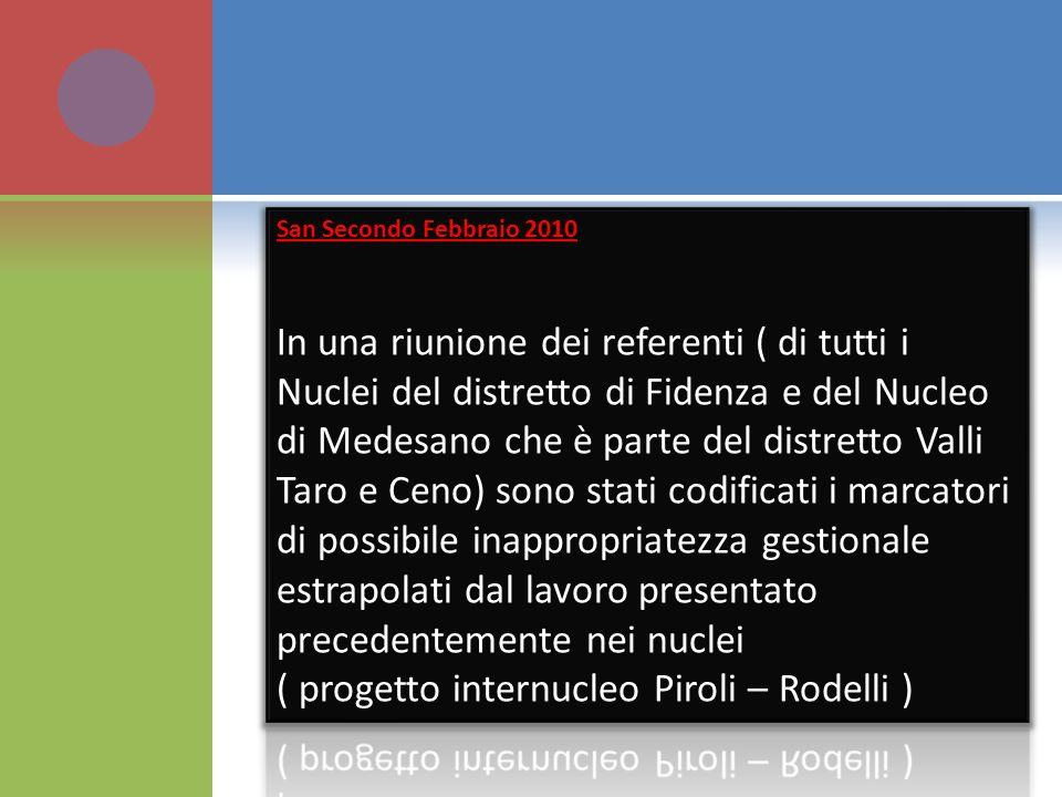 ( progetto internucleo Piroli – Rodelli )