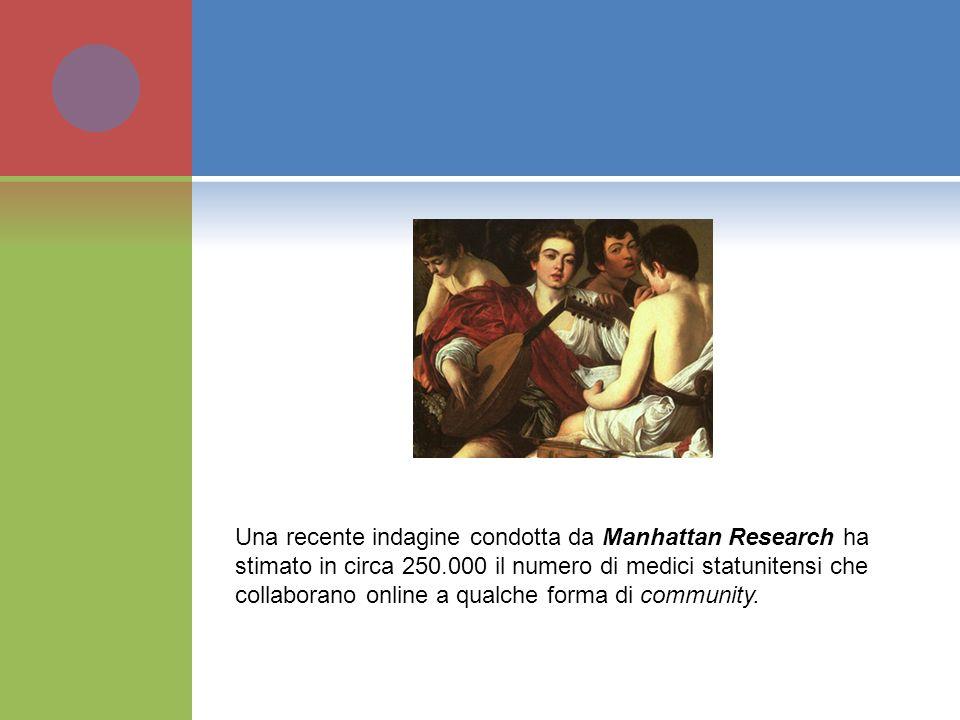 Una recente indagine condotta da Manhattan Research ha stimato in circa 250.000 il numero di medici statunitensi che collaborano online a qualche forma di community.