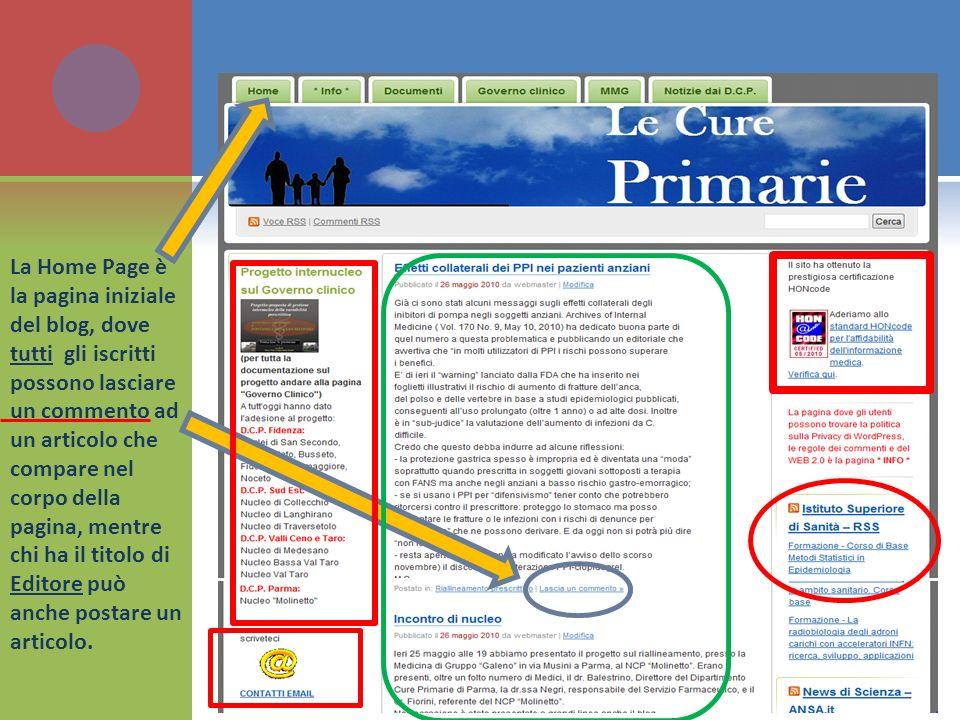 La Home Page è la pagina iniziale del blog, dove tutti gli iscritti possono lasciare un commento ad