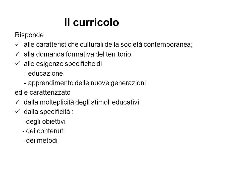 Il curricolo Risponde. alle caratteristiche culturali della società contemporanea; alla domanda formativa del territorio;