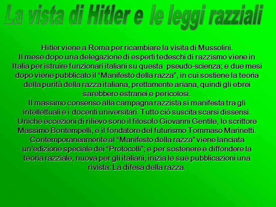 La vista di Hitler e le leggi razziali