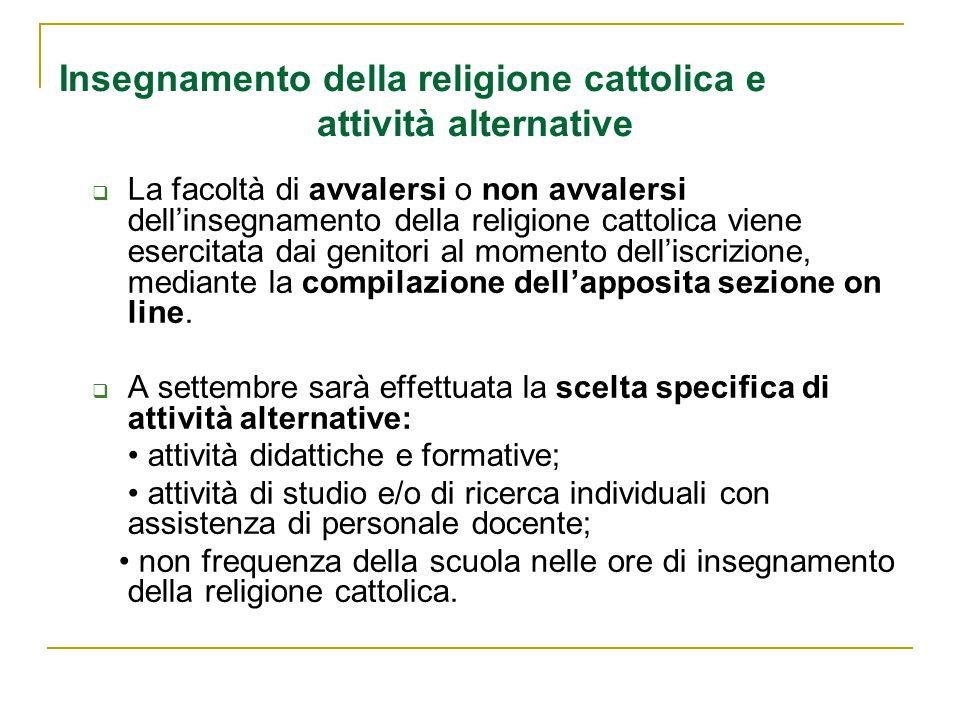 Insegnamento della religione cattolica e attività alternative
