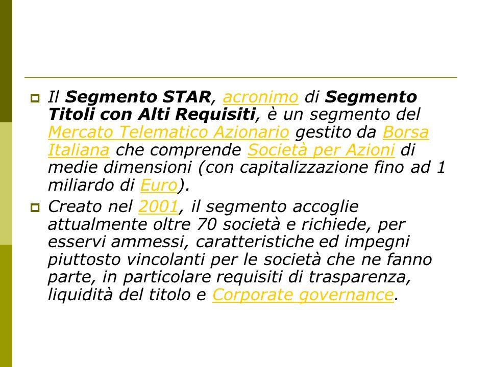 Il Segmento STAR, acronimo di Segmento Titoli con Alti Requisiti, è un segmento del Mercato Telematico Azionario gestito da Borsa Italiana che comprende Società per Azioni di medie dimensioni (con capitalizzazione fino ad 1 miliardo di Euro).