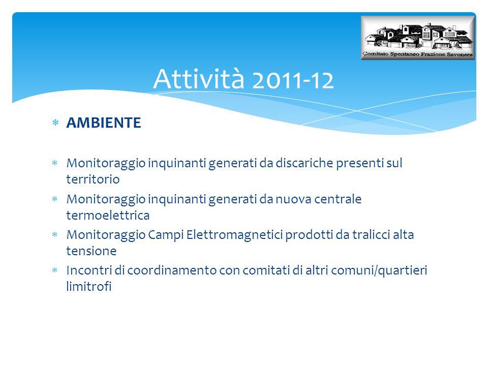 Attività 2011-12 AMBIENTE. Monitoraggio inquinanti generati da discariche presenti sul territorio.