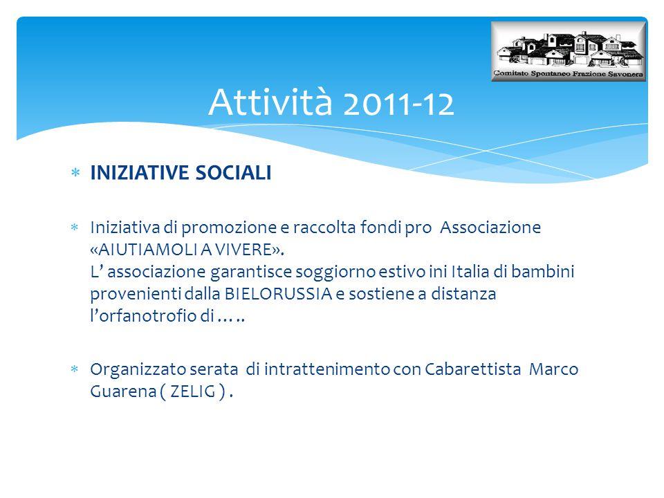 Attività 2011-12 INIZIATIVE SOCIALI