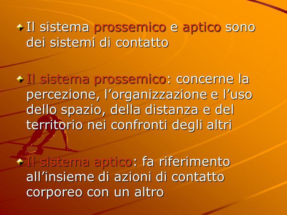 Il sistema prossemico e aptico sono dei sistemi di contatto