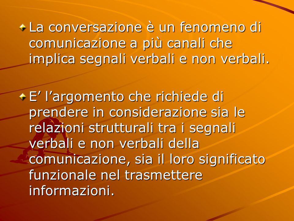 La conversazione è un fenomeno di comunicazione a più canali che implica segnali verbali e non verbali.