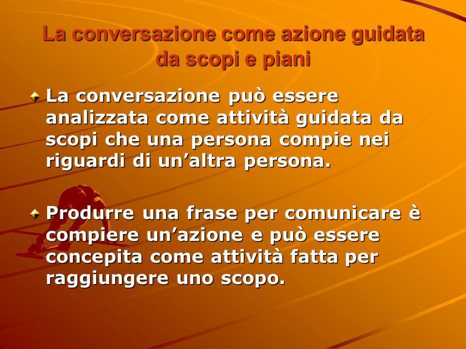La conversazione come azione guidata da scopi e piani