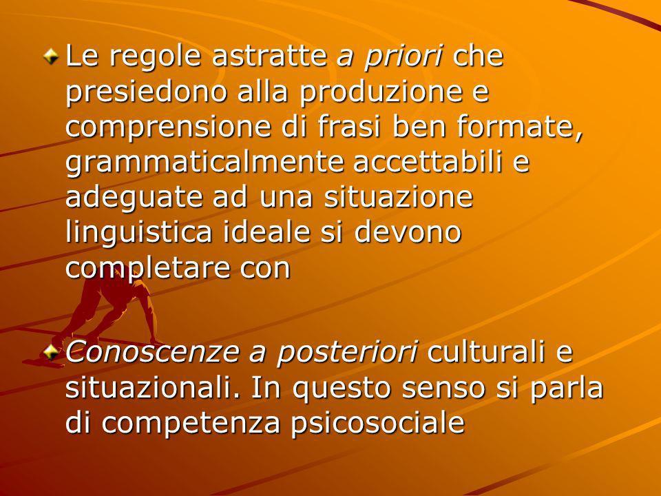 Le regole astratte a priori che presiedono alla produzione e comprensione di frasi ben formate, grammaticalmente accettabili e adeguate ad una situazione linguistica ideale si devono completare con