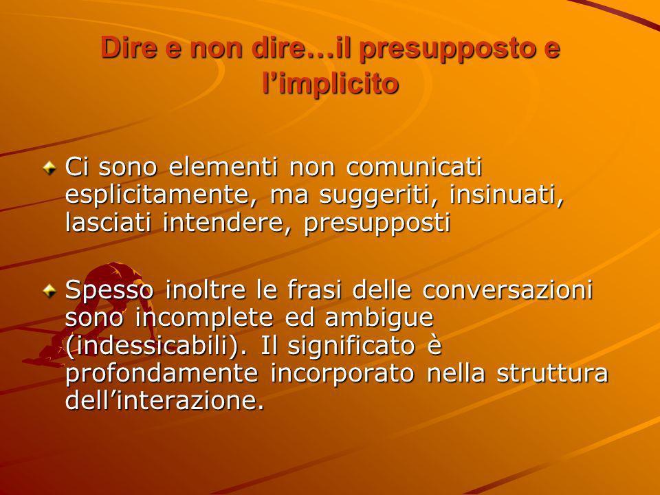 Dire e non dire…il presupposto e l'implicito