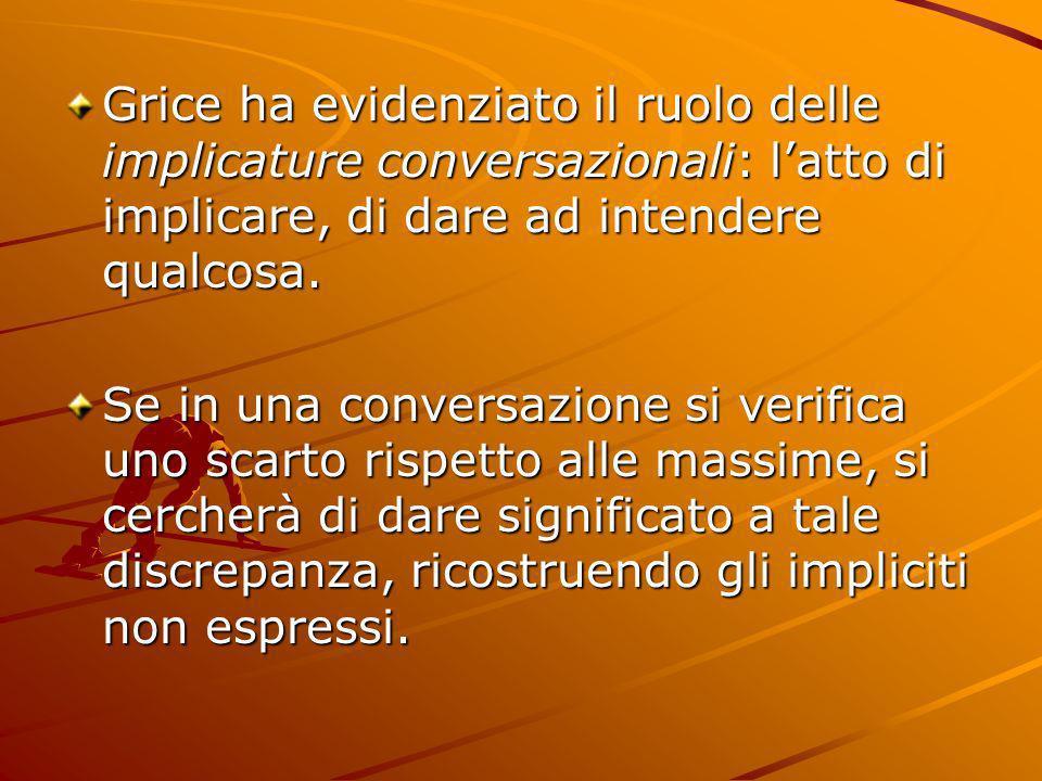 Grice ha evidenziato il ruolo delle implicature conversazionali: l'atto di implicare, di dare ad intendere qualcosa.