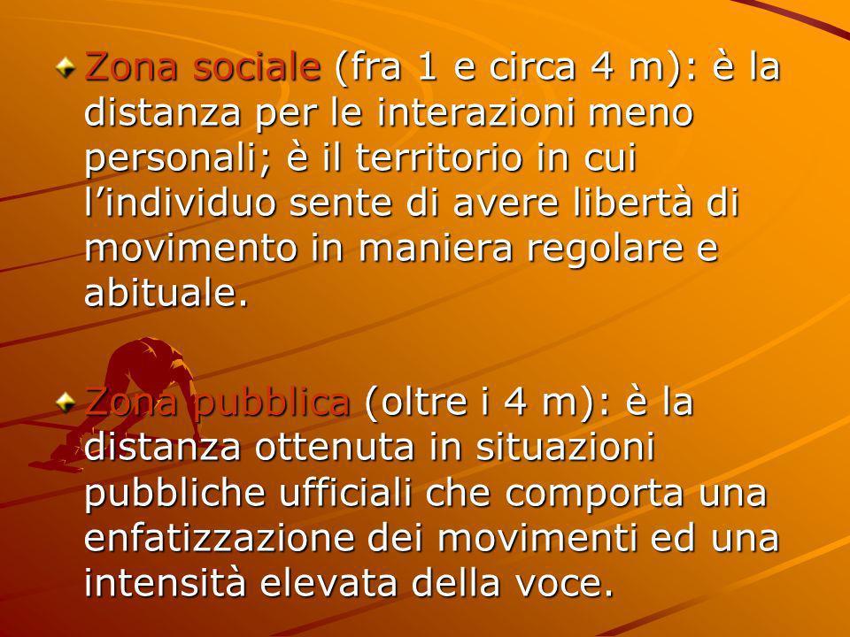 Zona sociale (fra 1 e circa 4 m): è la distanza per le interazioni meno personali; è il territorio in cui l'individuo sente di avere libertà di movimento in maniera regolare e abituale.
