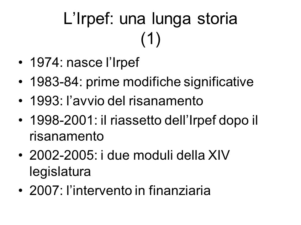 L'Irpef: una lunga storia (1)