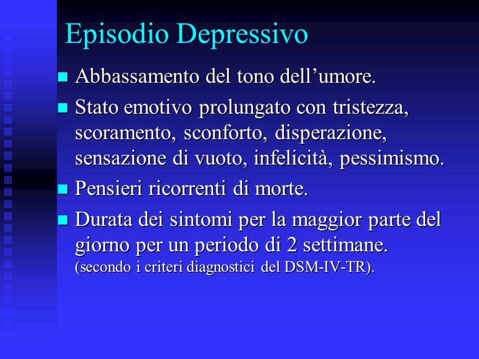 Episodio Depressivo Abbassamento del tono dell'umore.