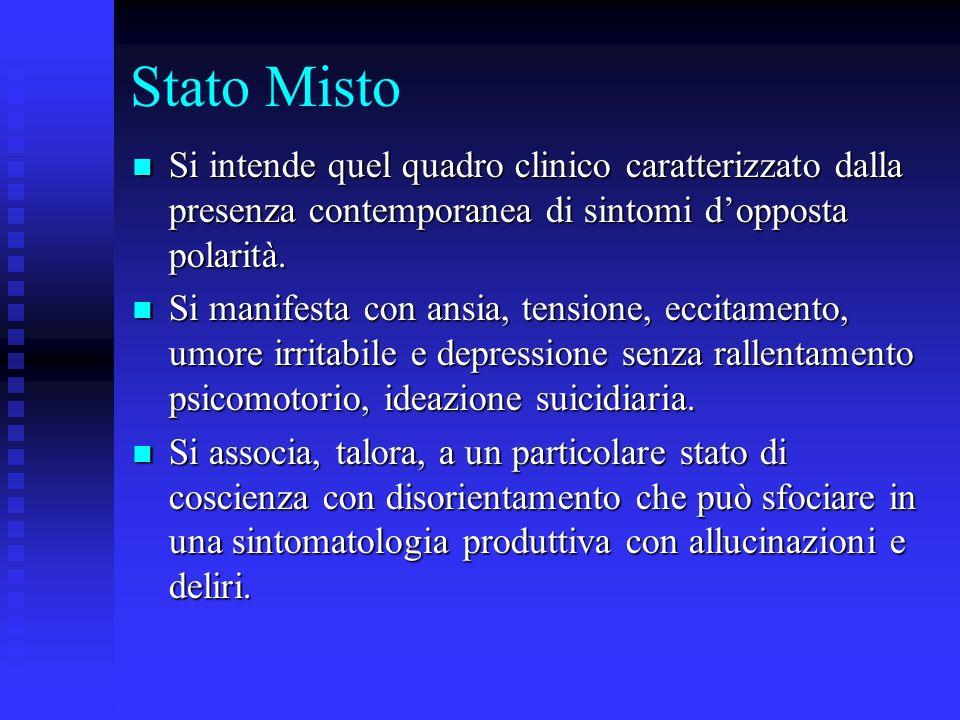 Stato Misto Si intende quel quadro clinico caratterizzato dalla presenza contemporanea di sintomi d'opposta polarità.