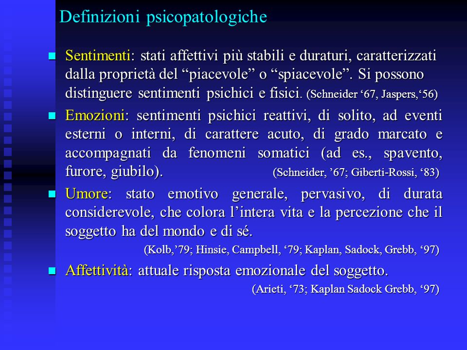 Definizioni psicopatologiche