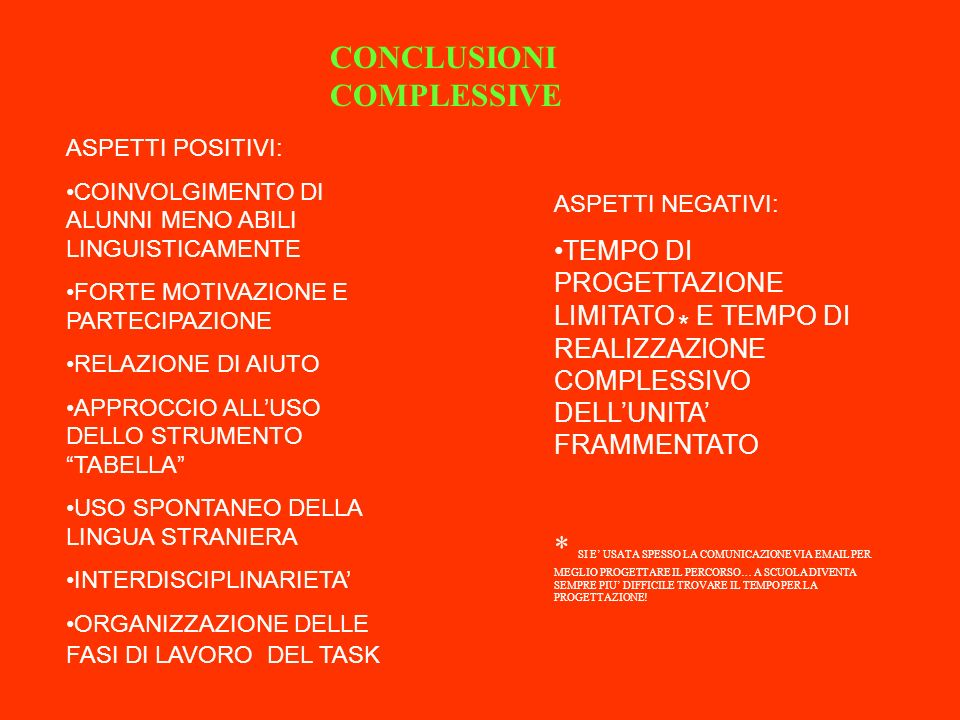 CONCLUSIONI COMPLESSIVE