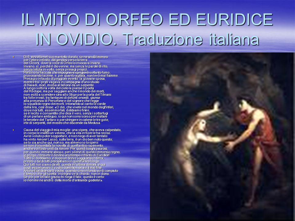 IL MITO DI ORFEO ED EURIDICE IN OVIDIO. Traduzione italiana