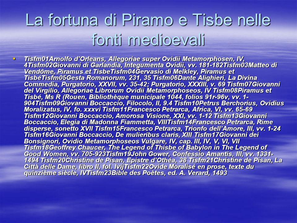 La fortuna di Piramo e Tisbe nelle fonti medioevali
